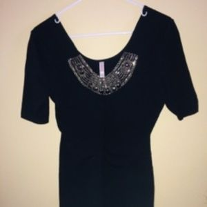 Black dress with bling embellishments